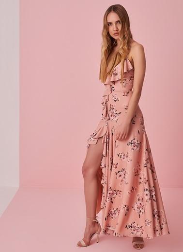 morhipo x dcey Sırtı Çapraz Bağlamalı Çiçek Desenli Elbise Bej